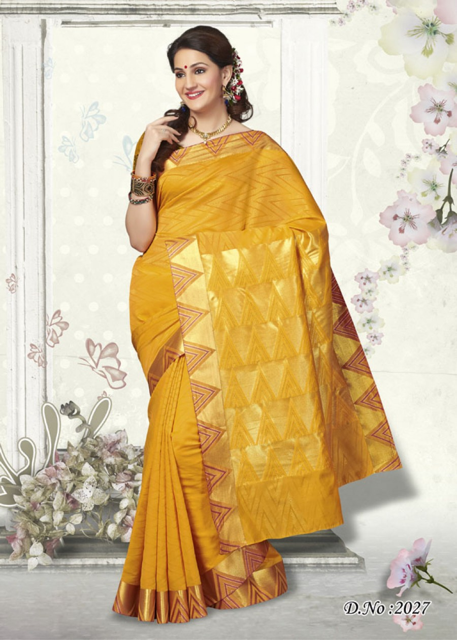Buy Traditional Yellow Butter Silk Designer Saree   Online