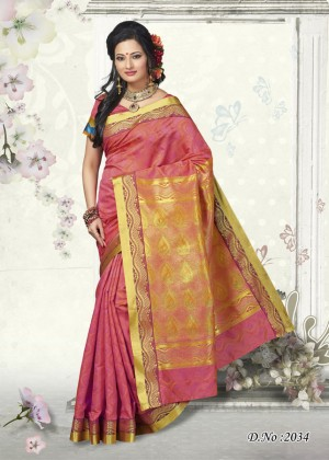 Buy Traditional Pink Butter Silk Saree  Online