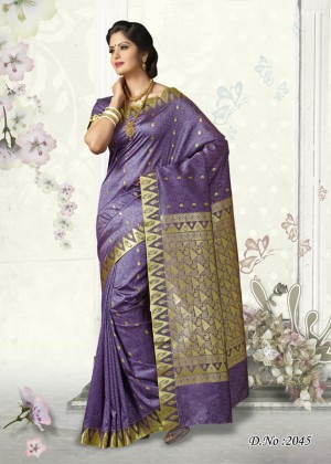 Buy Traditional Purple Butter Silk Saree Online