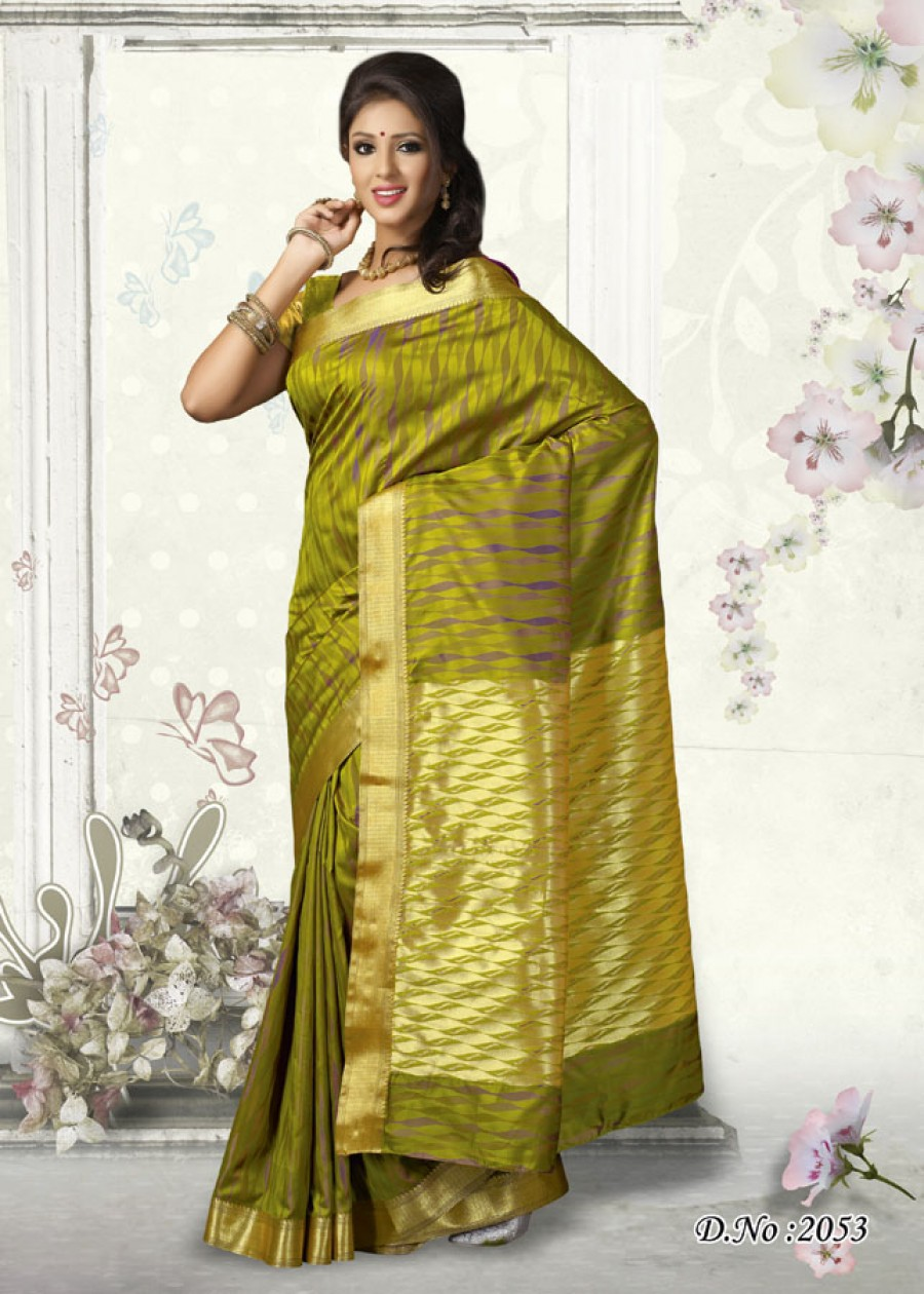 Buy Traditional Designer Green Color Art Silk Saree   Online