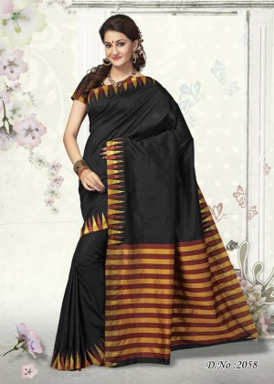 Buy Traditional Black Color Designer Art Silk Designer Saree   Online