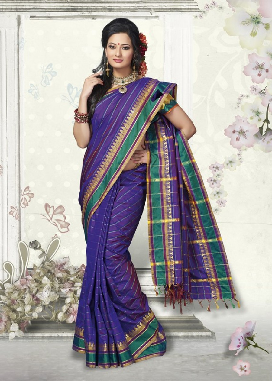 Buy Traditional Blue Designer Art Silk Designer Saree   Online