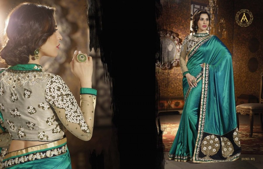 Buy Green Georgette Designer Saree With Blouse Online