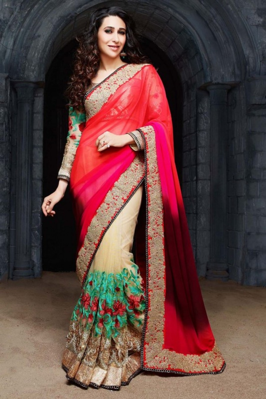 Buy Red Pink Sheded Plain Padding Pure Georgette Cream Net Designer With Blouse  Online