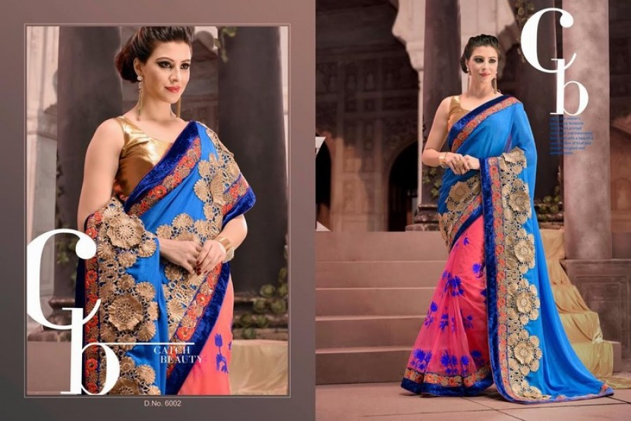 Buy Blue Georgette And Pink Net Half Designer Saree Online