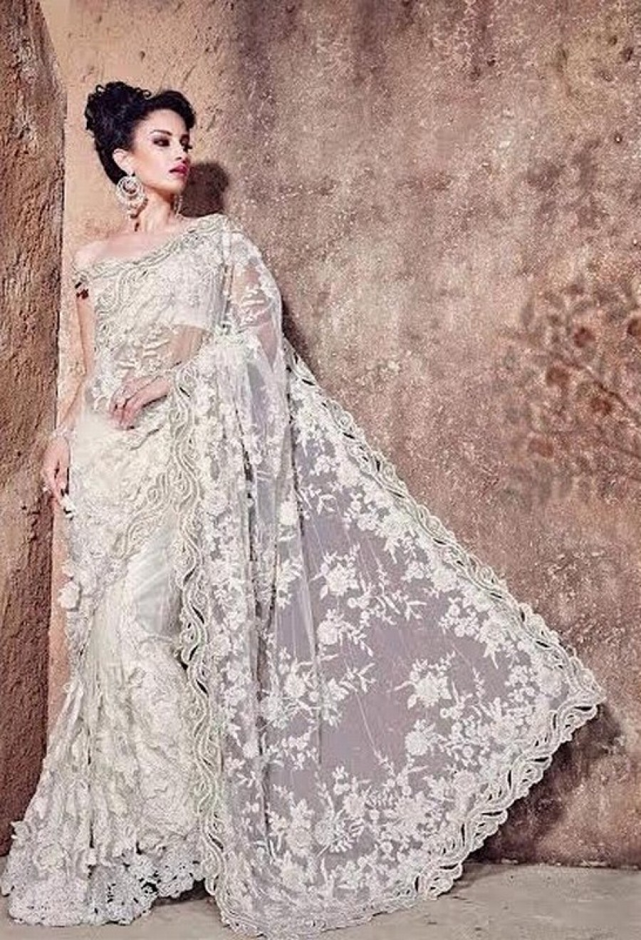 Buy White worked ner bridal designer saree with blouse Online