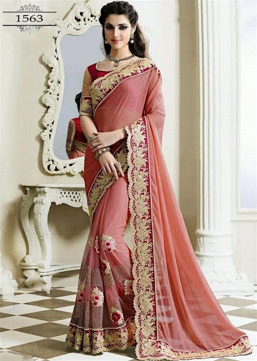 Buy Pink Net Worked Designer Saree With Blouse Online