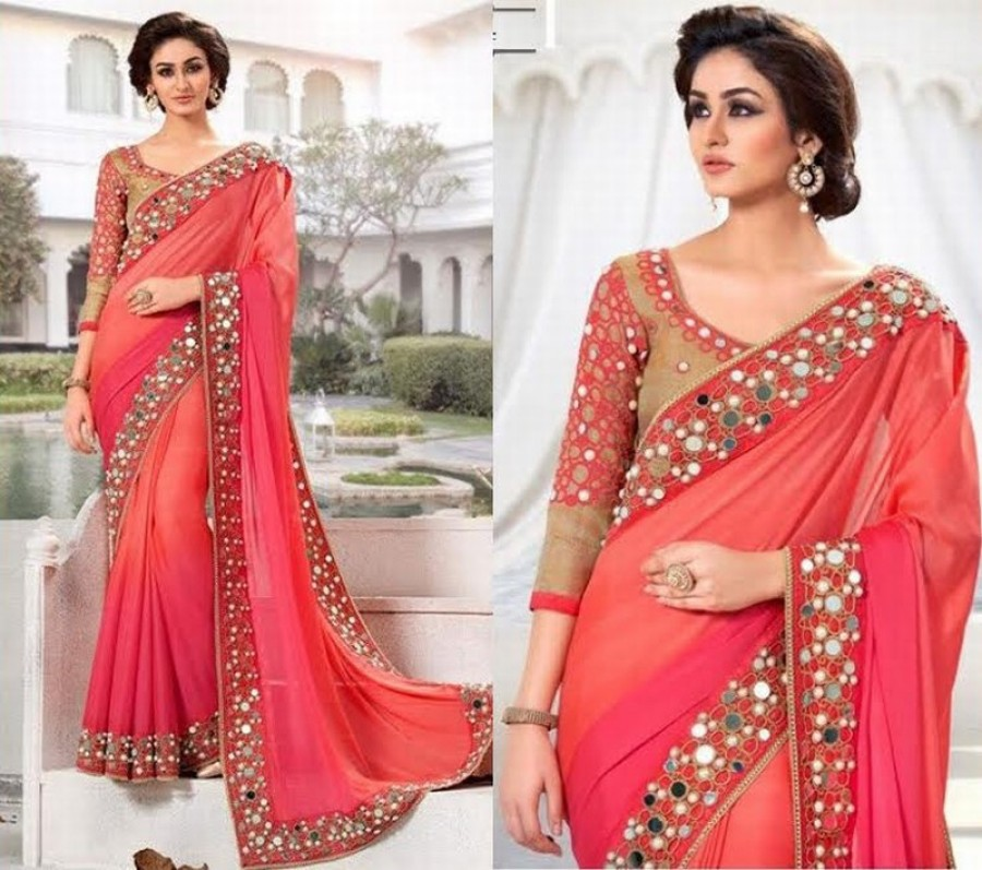 Buy Pink Padding Plain Jacqured Designer Saree With Blouse Online