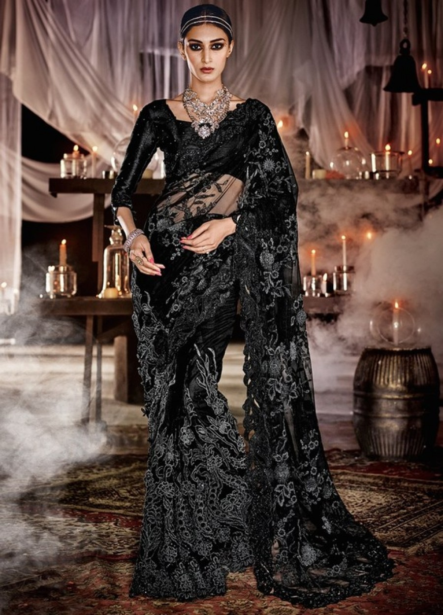 Buy Black heavy net wedding  saree with blouse  Online