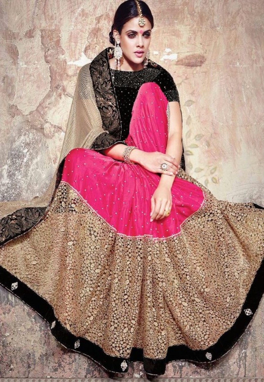 Buy Beige- pink russal net+georgette designer saree with velvet blouse Online