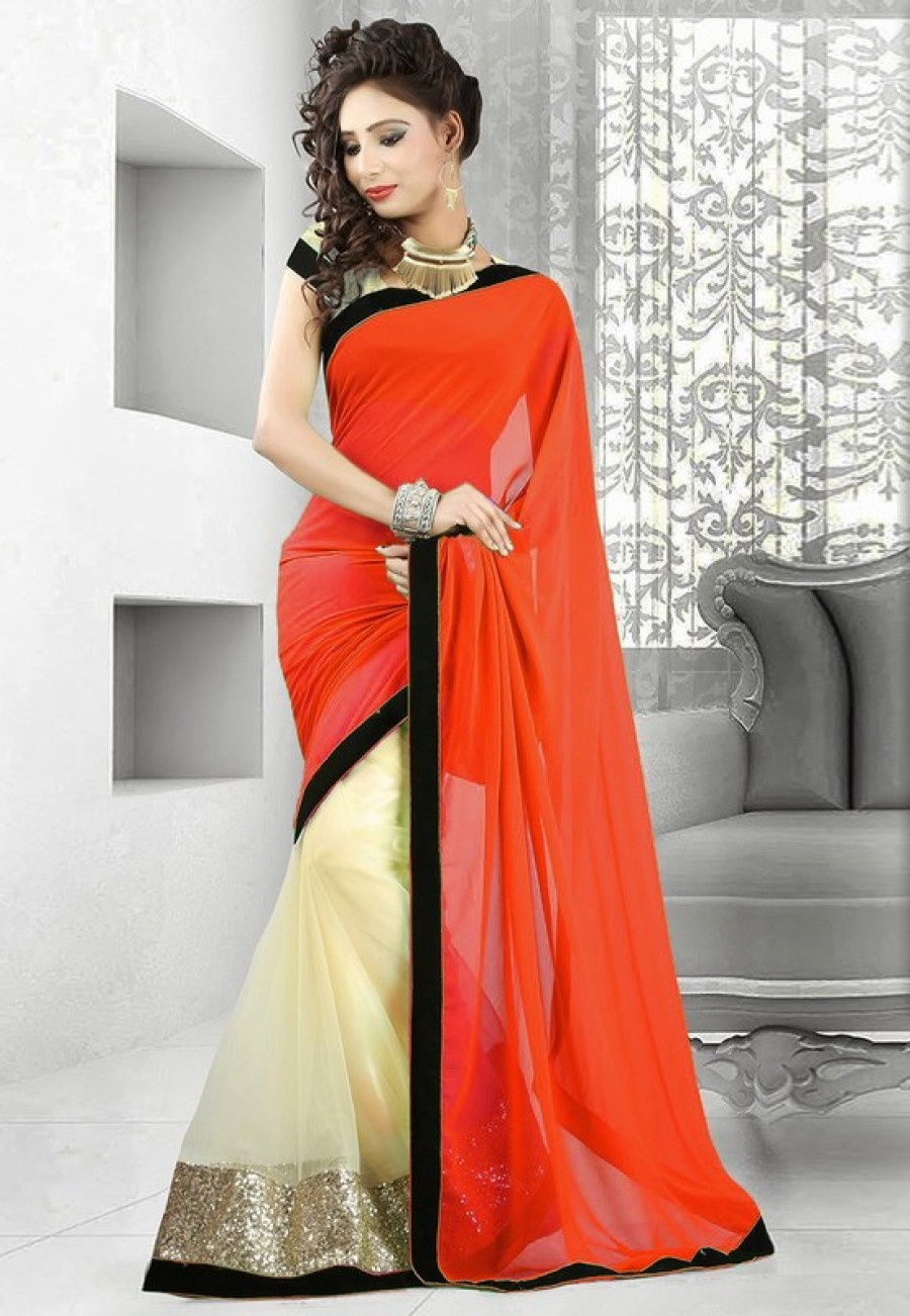 Buy Orange and cream plain georgette and net half half designer saree with blouse Online