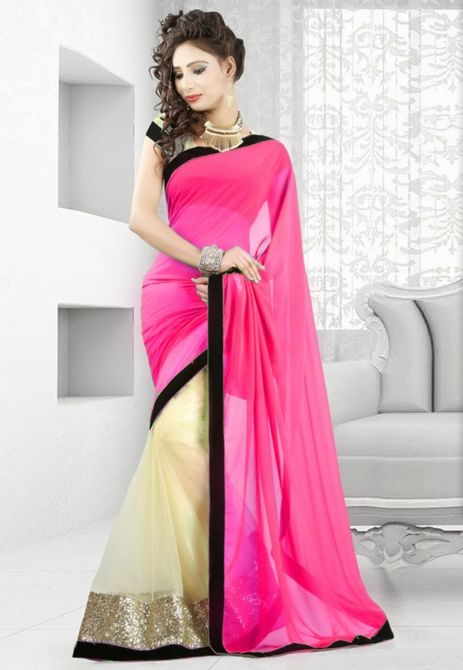 Buy Pink and cream plain georgette and net half half designer saree with blouse Online