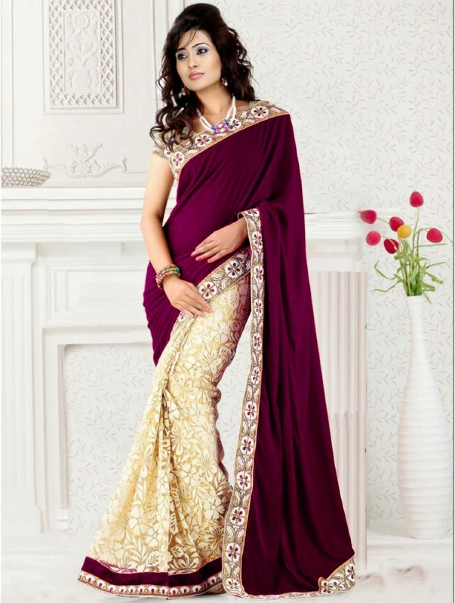 Buy Magenta velvet and brasso half half designer saree with blouse Online