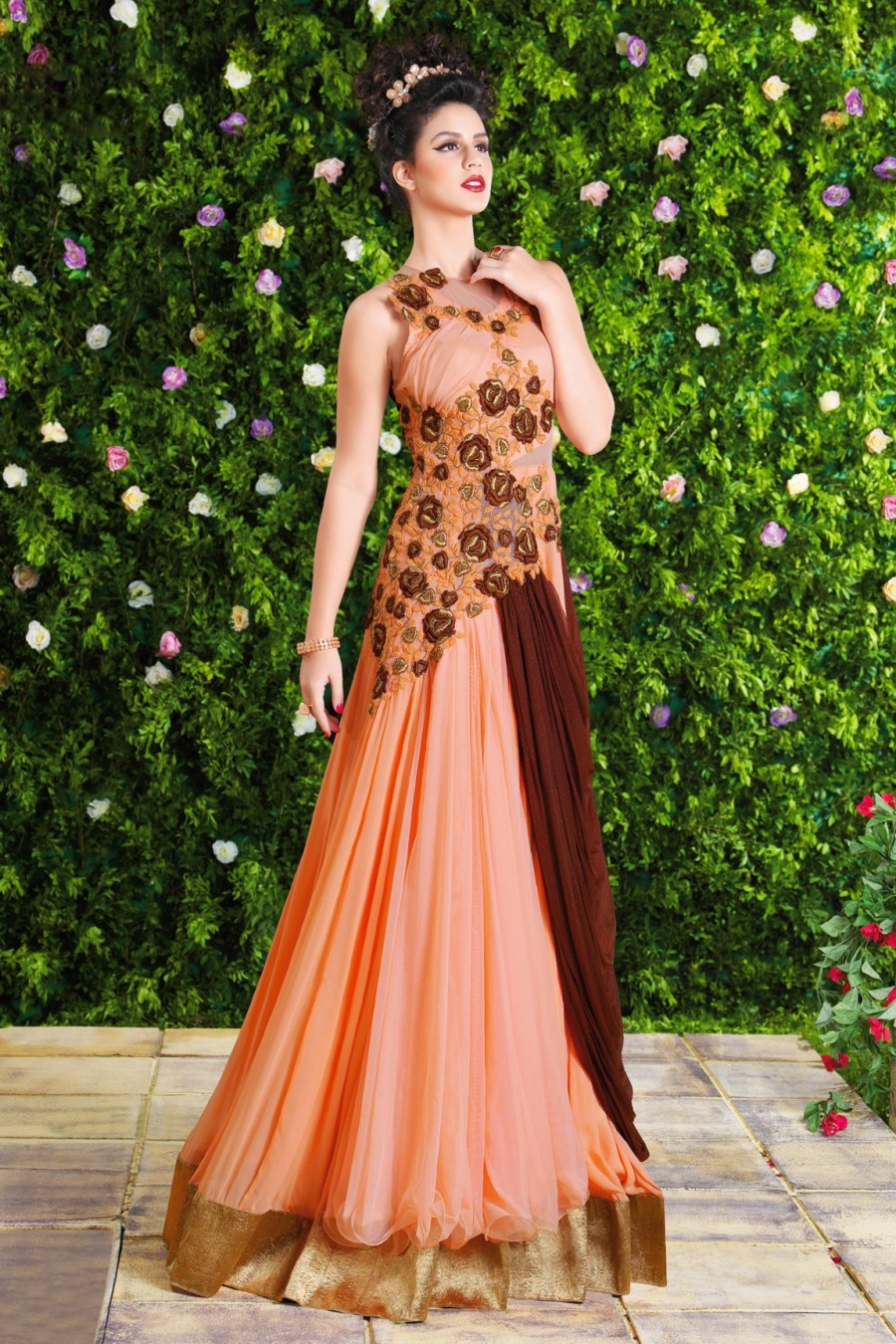 Buy Peach Georgette Semi-stitched Gown with Bottom and Attached Dupatta Online
