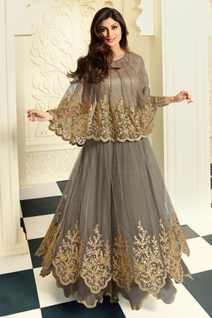 Buy Shilpa Shetty Grey Net Georgette Gown Style Salwar Kameez with Bottom and Dupatta Online