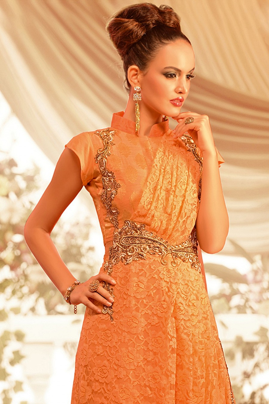 Buy OPULENT LIGHT ORANGE GEORGETTE GOWN Online
