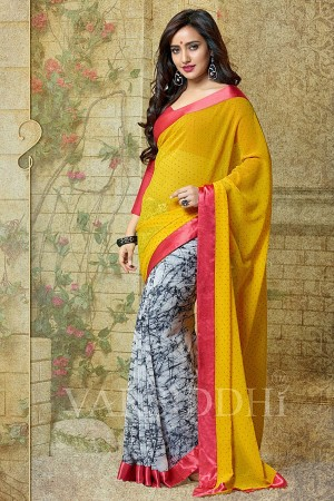 Buy Neha Sharma Off-white and Yellow Georgette Saree Online