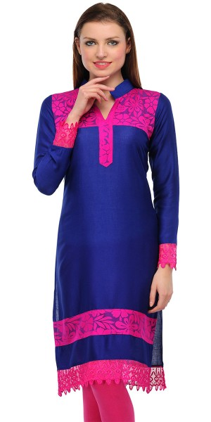 Buy Charming Bue And Pink Cotton Casual Kurti. Online