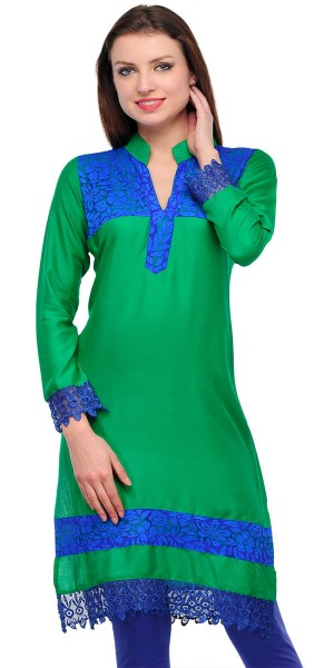 Buy Stunning Green And Blue Cotton Casual Kurti. Online