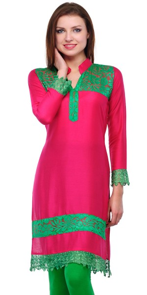 Buy Marvelous Pink And Green Cotton Casual Kurti. Online