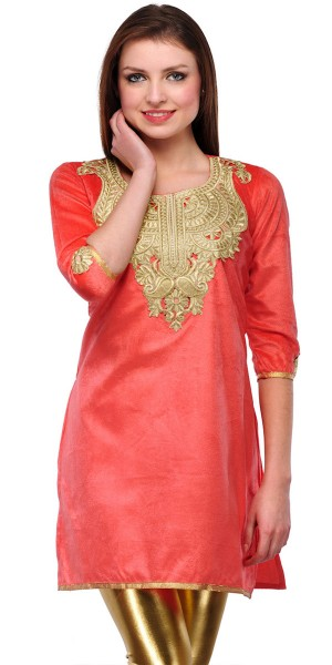 Buy Awesome Peach Velvet Casual Kurti. Online