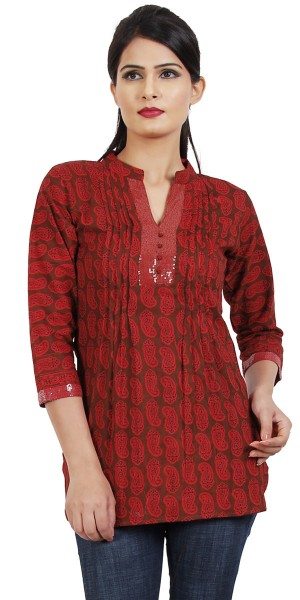 Buy Vibrant Red Cotton Casual Short Kurti. Online