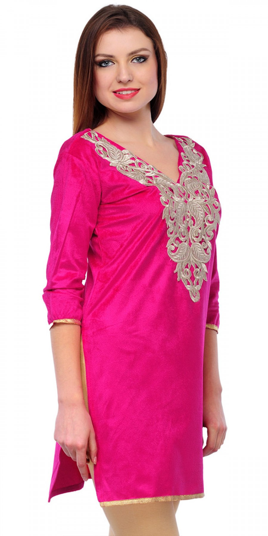 Buy Wonderful Pink Velvet Casual Kurti. Online