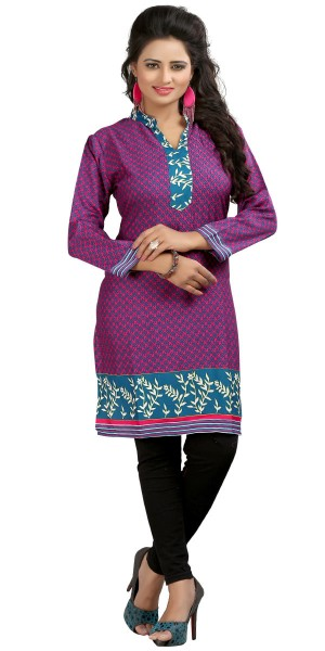 Buy Alluring Purple Cotton Casual Kurti. Online