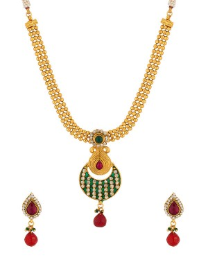 Buy Red Stone Drop Golden Traditional Necklace Set azzling Pendant Set With Golden Chain  Online