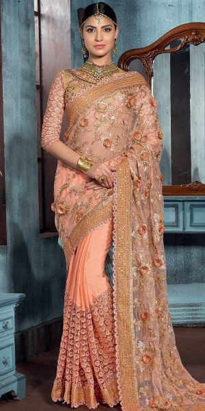 Buy Trendy Orange Net Saree With Blouse. Online