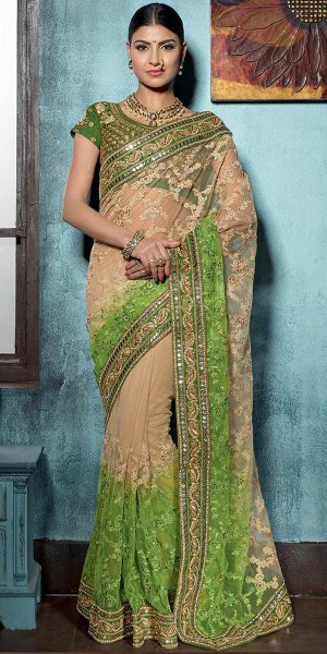 Buy Marvelous Green And Cream Net Saree With Blouse. Online