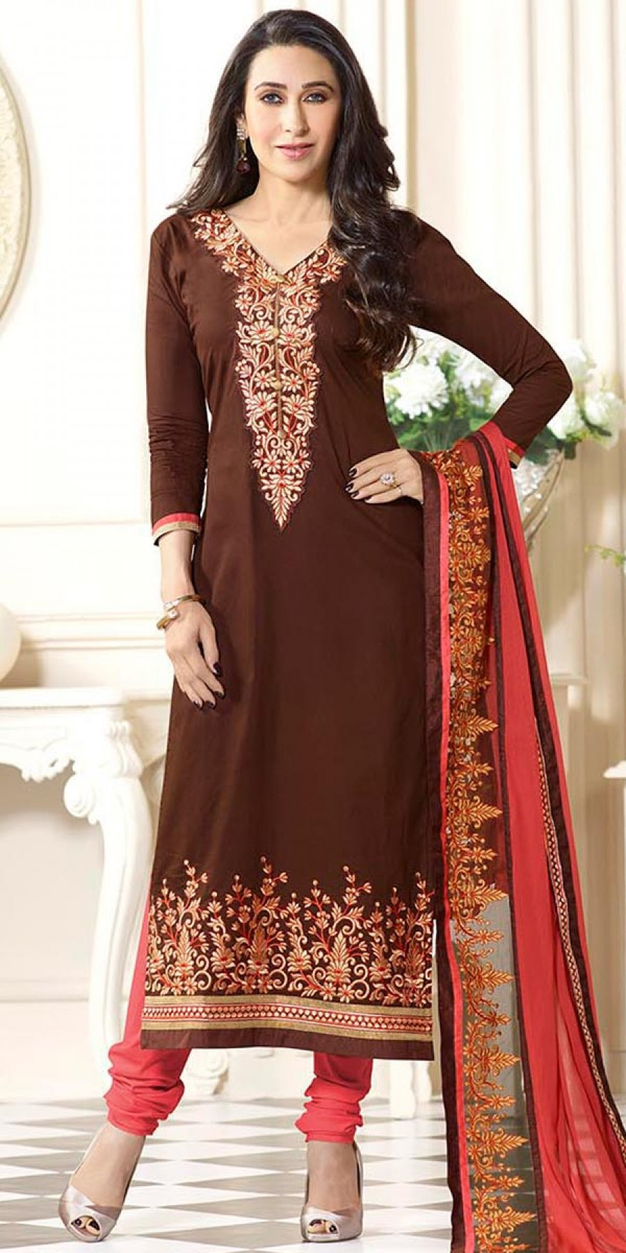 Buy Karishma Kapoor Brown And Peach Cotton Salwar Suit With Dupatta. Online