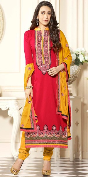 Buy Karishma Kapoor Peach And Yellow Cotton Salwar Suit With Dupatta. Online