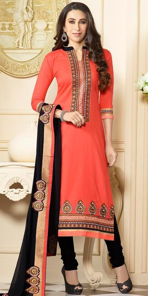Buy Karishma Kapoor Orange And Black Cotton Salwar Suit With Dupatta. Online