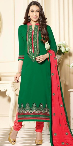 Buy Karishma Kapoor Green And Red Cotton Salwar Suit With Dupatta. Online