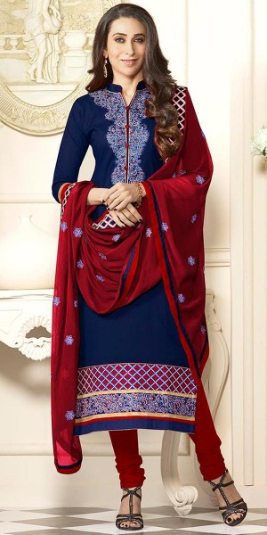 Buy Karishma Kapoor Navy Blue And Maroon Cotton Salwar Suit With Dupatta. Online