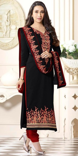 Buy Karishma Kapoor Black And Red Cotton Salwar Suit With Dupatta. Online