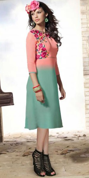 Buy Enamoring Peach And Blue Georgette Kurti. Online