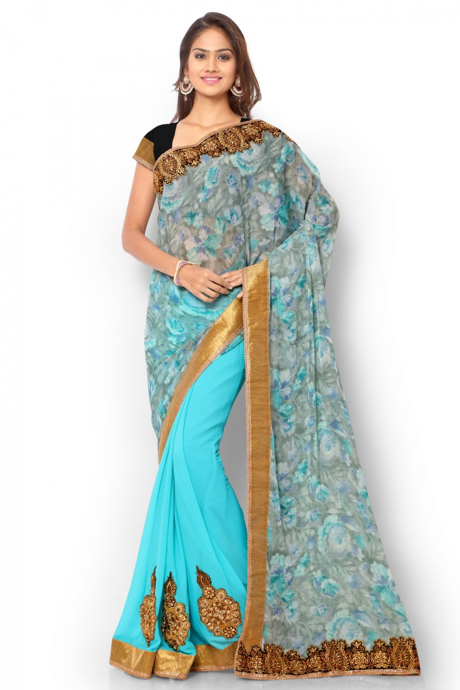 Buy Blue Georgette and Chiffon Saree with Jaipuri Silk Blouse Piece Online