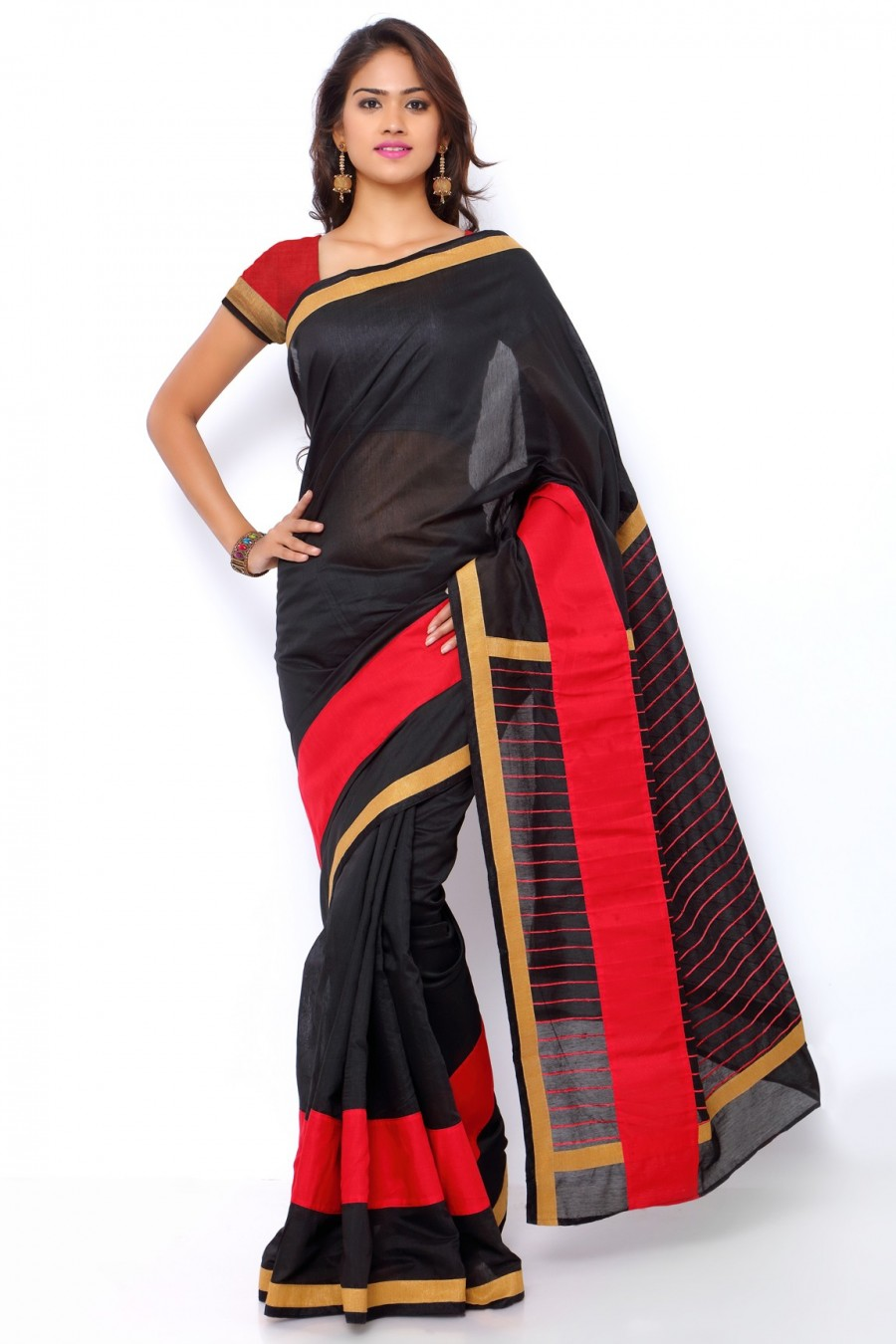 Buy Black and Red Chanderi Cotton Zari Border Saree with Chanderi Blouse Piece Online