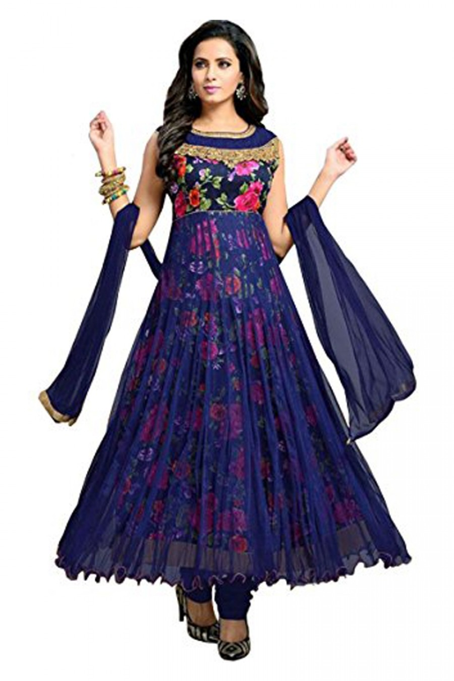 Buy Attractive Blue Colour Gerogette Embroidery Semi-Stitched Anarkali Suit Online
