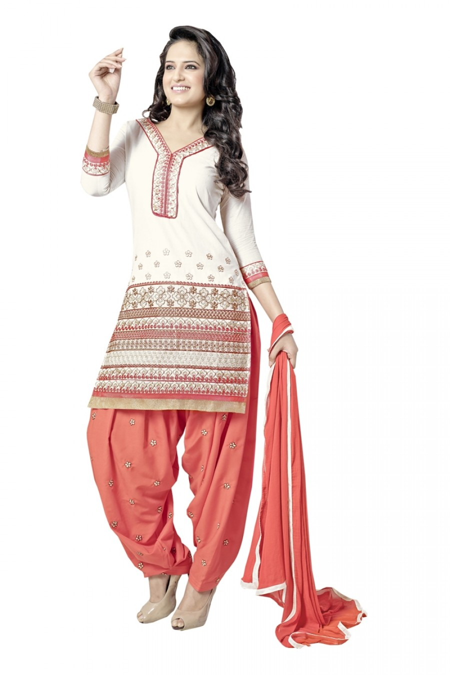Buy Excellent Resham Embroidered White And Orange Patiala Suit Online