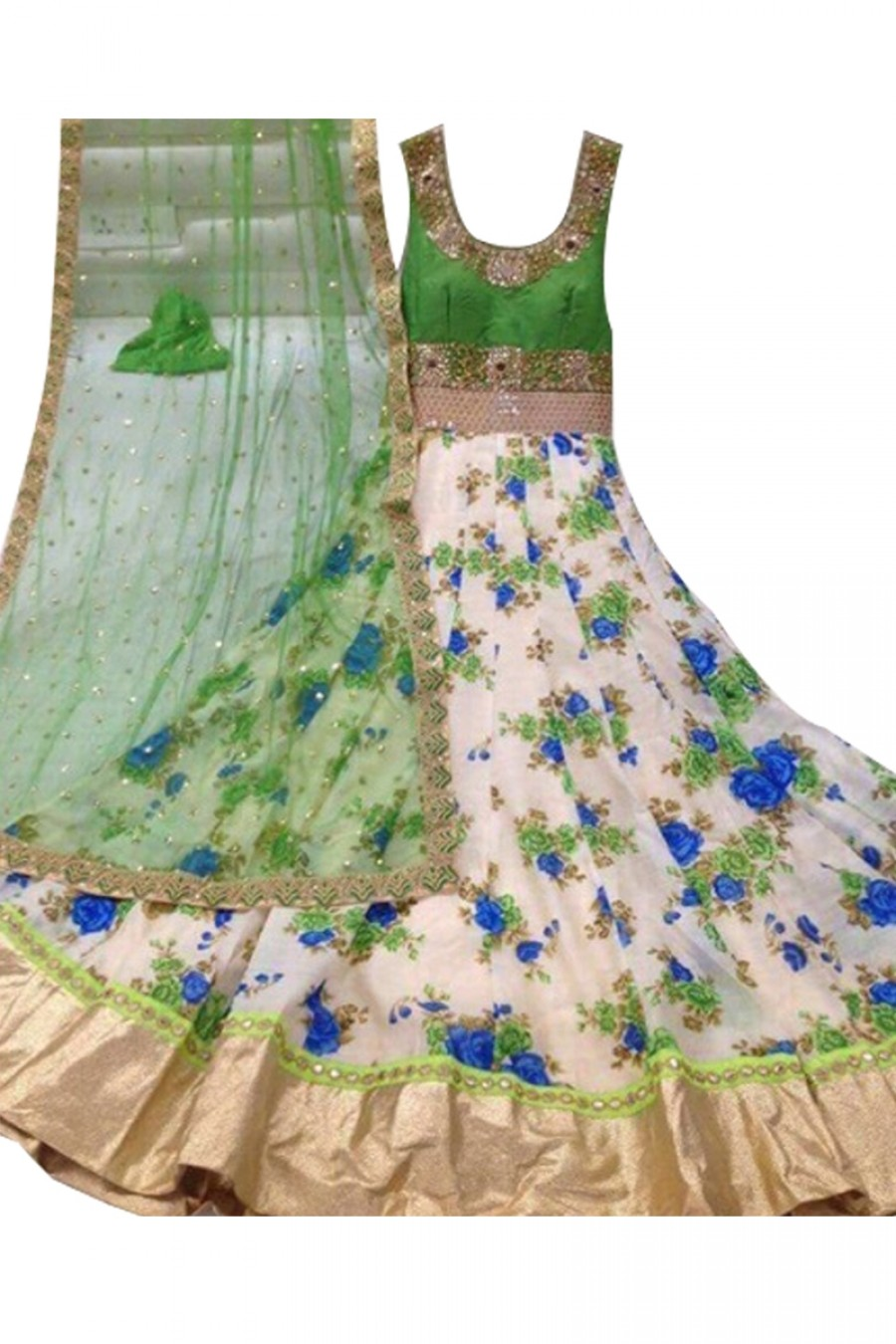 Buy Attractive White And Prraot Green Colour Net Embroidery Semi-Stitched Anarkali Suit Online