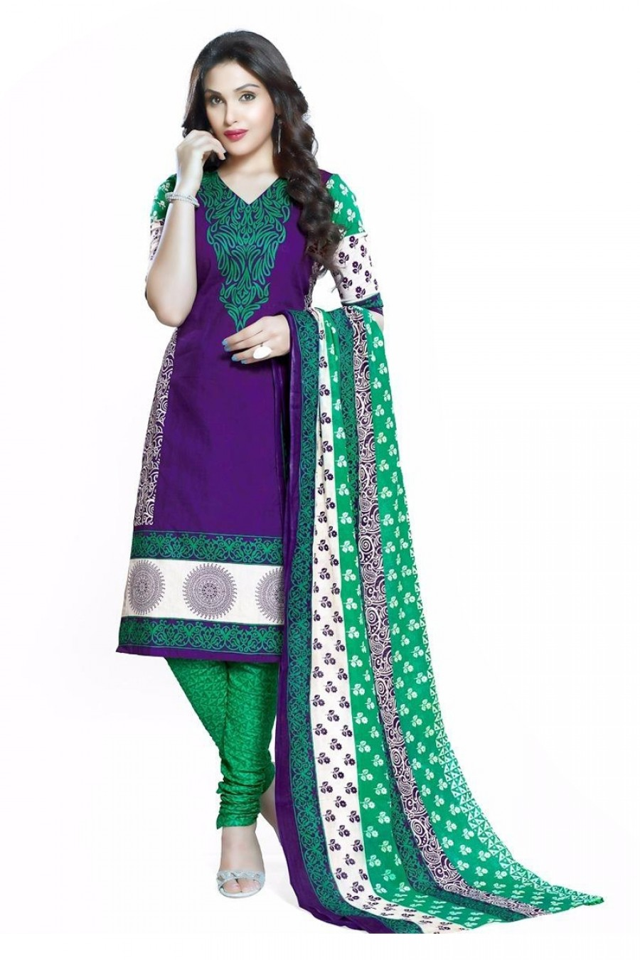 Buy Purple Colour Cotton Unstitched Dress Material Online