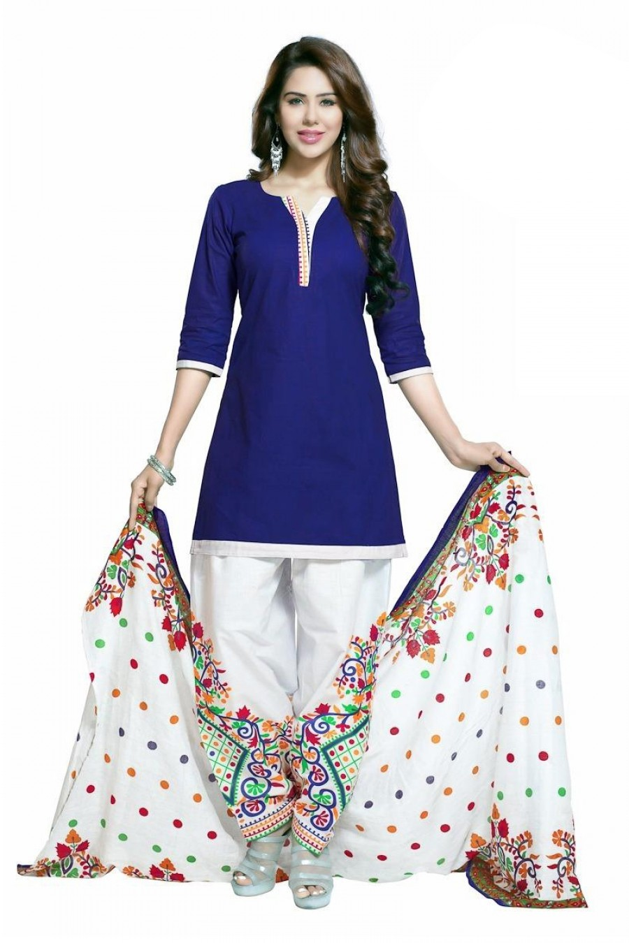 Buy Blue Colour Cotton Unstitched Dress Material Online
