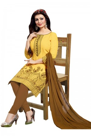 Buy Yellow Colour Cotton Embroidery Semi-Stitched Straight Fit Suit  Online