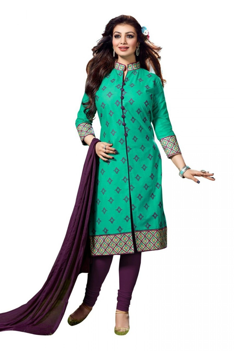 Buy Green Colour Cotton Embroidery Semi-Stitched Straight Fit Suit  Online