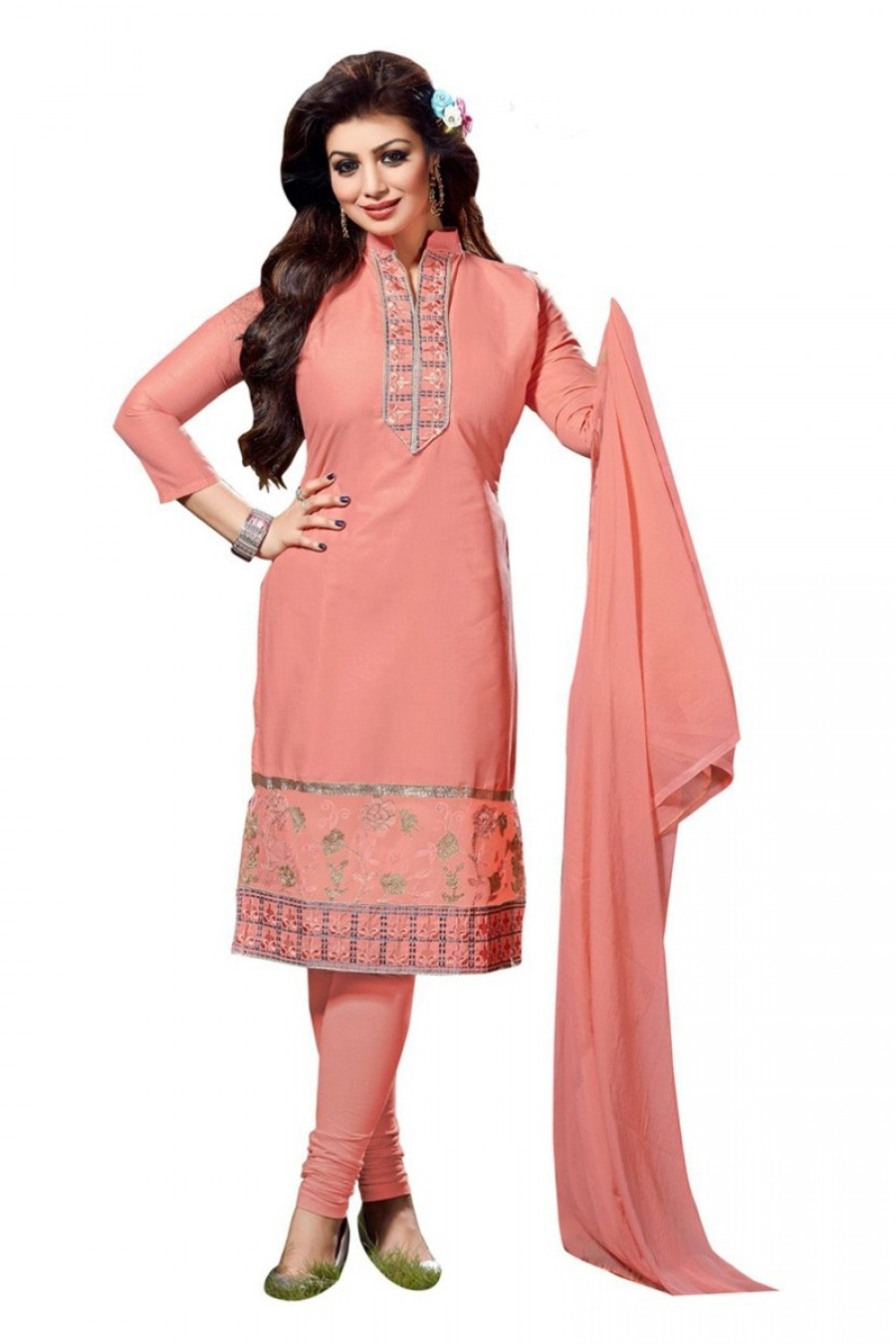 Buy Orange Colour Cotton Embroidery Semi-Stitched Straight Fit Suit  Online