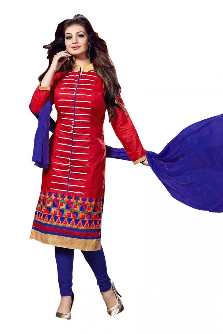 Buy Red Colour Chanderi Embroidery Semi-Stitched Straight Fit Suit  Online