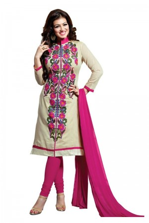 Buy Beige Colour Cotton Embroidery Semi-Stitched Straight Fit Suit  Online